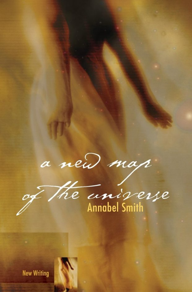 Image of my book cover A New Map of the Universe. Woman in yellow dress on starry background.