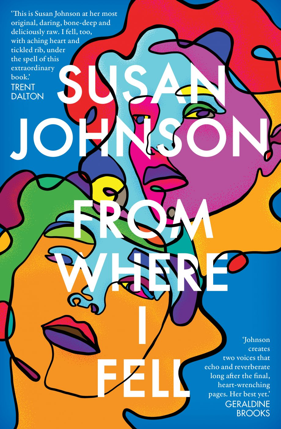 Book cover image: brightly coloured abstract picture of human faces. Text reads 'Susan Johnson, From Where I Fell'